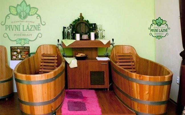 Pivní lázně v Poděbradech s pivní koupelí, neomezenou konzumací piva a masáží